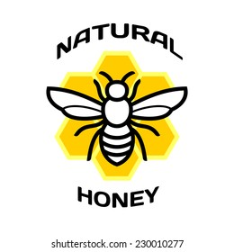 Bee icon. Natural honey package logo.