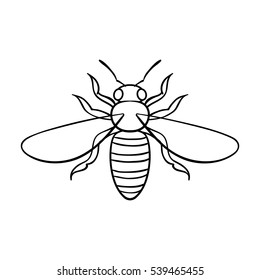 Bee icon in outline style isolated on white background. Insects symbol stock vector illustration.