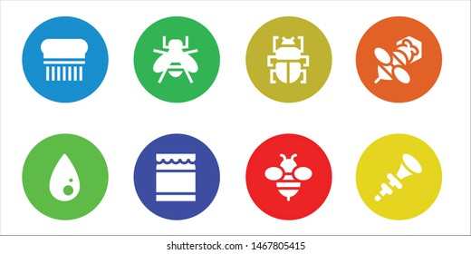 bee icon set. 8 filled bee icons.  Simple modern icons about  - Flea, Liquify, Bee, Honey, Fleas, Bpee