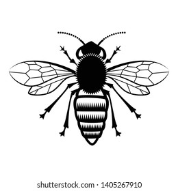 Bee icon or silhouette, isolated on white background. Eps10 vector illustration.