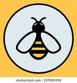Bee icon. Symbol silhouette of a honey bee sign. Vector illustration.