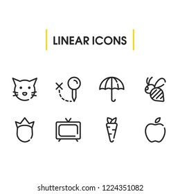 Bee icon with umbrella, apple and tv symbols. Set of bug, fruit, telly icons and prince concept. Editable vector elements for logo app UI design.