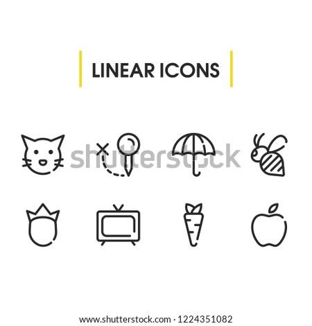 Bee Icon Umbrella Apple Tv Symbols Stock Vector (Royalty Free