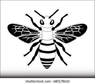 Bee Icon Vector - Illustration Wasp, Bee, Honey, Hornet, Animal, Insect