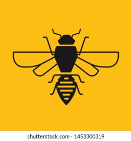 Bee icon vector isolated on yellow background.