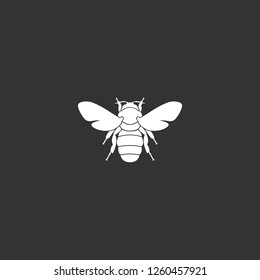 bee icon vector. bee sign on black background. bee icon for web and app