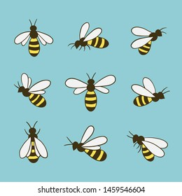Bee icons set. Flat style. Vector illustration.