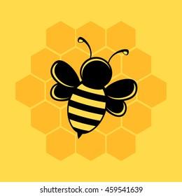 Bee illustration on yellow background