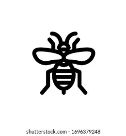 bee insect icon outline black