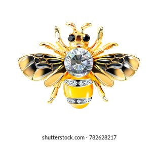 Bee Jewelry with stones isolate on a white background. Beautiful pattern. Realistic vector. Abstract background.