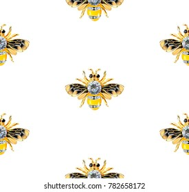 Bee Jewelry with stones on a white background. Beautiful pattern. Realistic vector. Seamless