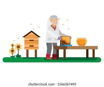 bee keeper harvesting honey flat illustration design vector