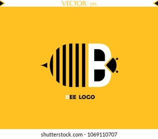 Bee Letter Logo. Vector Drawing