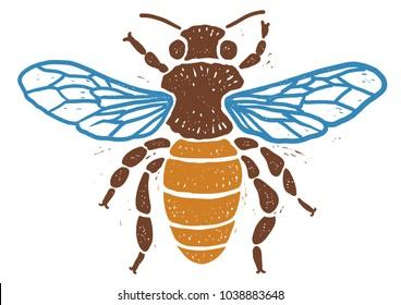 Bee linocut linocut illustration, draw, ink, vector