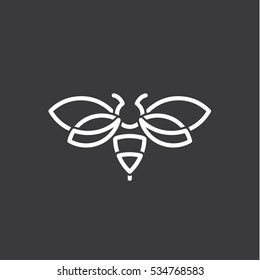 Bee logo design illustration modern minimalism