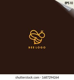 Bee Logo Design With Luxury Gold Colour. Bee Logo Template. Modern Design. Flat Logo. Vector Illustration