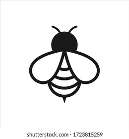Bee logo design vector. Honeybee abstract symbol. Outline flying insect vector icon