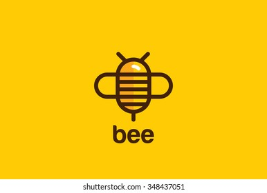 Bee Logo design vector template linear geometric style. Bug Logotype concept creative funny icon.