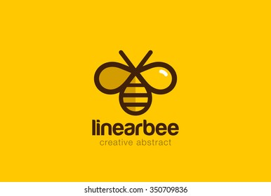 Bee Logo design vector template linear style. Outline icon.