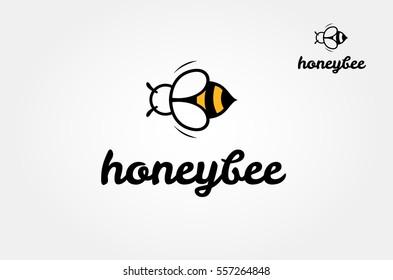 Bee Logo design vector template. Outline icon, Creative Logotype concept, vector logo illustration.