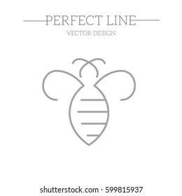 Bee Logo design vector template linear geometric style.