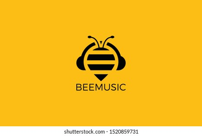 Bee logo forms a headset as a symbol of music
