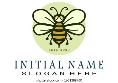 bee logo, bee with a green circle background