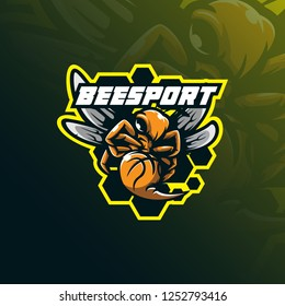 bee logo mascot  design sport vector with modern illustration concept style for badge, emblem and tshirt printing. angry bee mascot illustration.