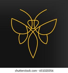 Bee logo. Vector line style bee logotype.