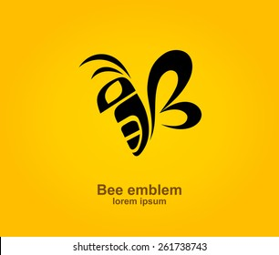 Bee logotype design template, Stylized business logo idea, Vector illustration Eps 10