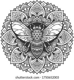 bee mandala coloring page. t-shirt print.