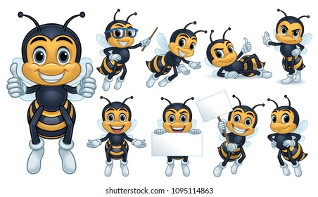 Bee Mascot Character with 9 poses