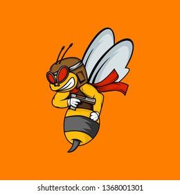Bee mascot with gun. Bee pilot mascot