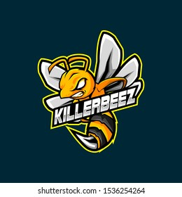 Bee Mascot Logo for Gaming, Stream Channel or Community