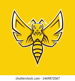 Bee mascot logo. Wasp mascot logo. Angry bee mascot for gaming logo.
