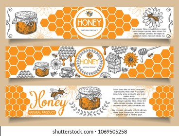 Bee natural honey vector horizontal banner set. Hand drawn honey natural product concept design elements for honey business advertising.
