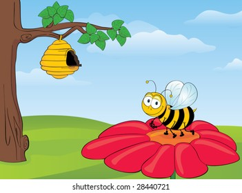 Bee on Flower - Vector
