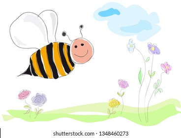 bee on flowers, vector illustration drawing made by a child style. Spring concept