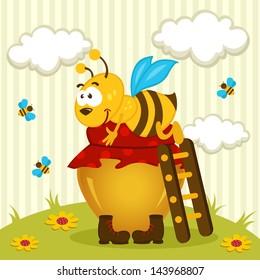 bee on a pot of honey - vector illustration