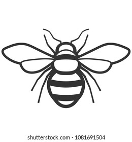 Bee outline black icon. Clipart image isolated on white background