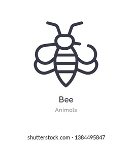 bee outline icon. isolated line vector illustration from animals collection. editable thin stroke bee icon on white background