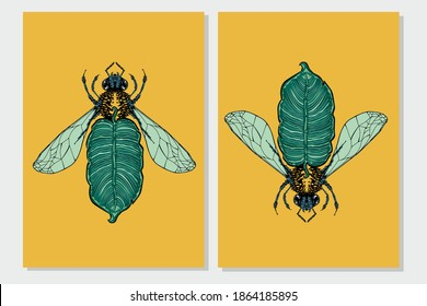 Bee and palm leaf. Flora and fauna vintage print. Tattoo style illustration print with plant and bug.