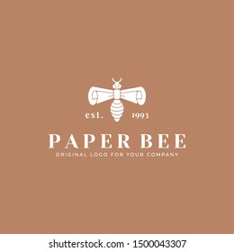 Bee and paper logo template. Creative wasp logo design inspiration. can be used as symbols, brand identity, company logo, icons, or others. Color and text can be changed according to your need.