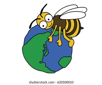 Bee is protecting the earth