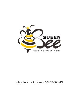 Bee Queen with Crown and Hive Logo Vector Illustrations