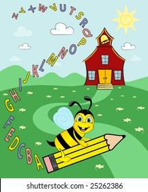 Bee riding a pencil over field of flowers,leaving a trail of the alphabet. Schoolhouse in the background.vector.