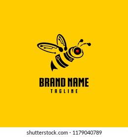 Bee Robot Logo Design Vector