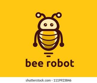 Bee Robot Logo Icon or Template