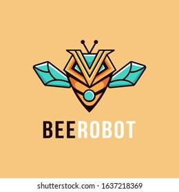 Bee robot mascot cartoon logo vector template on light background