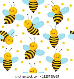 Bee seamles pattern. Cute flying bees for honey product. Vector endless bee house background. Insect cute nature, beekeeping pattern illustration